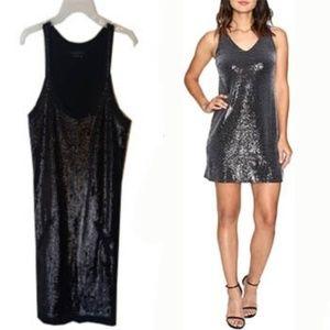BCBG Black Seqin French Terry Sleeveless Mini Dres